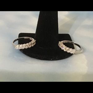Pair of Diamonique Bands in Sterling Silver